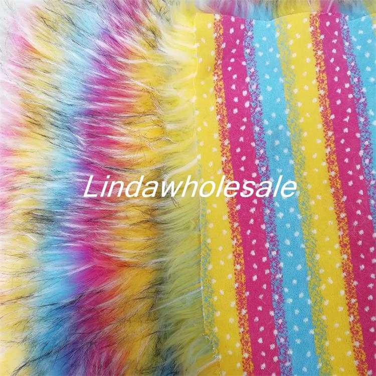 Высокий класс ткань искусственный мех, Радуга енота жаккардовые плюшевые ткани, войлочная ткань, одежда, обувь материал