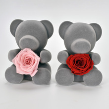 UBUY New Design Beautiful Bear With Preserved Fresh Flower Rose Decoration For Valentines Day