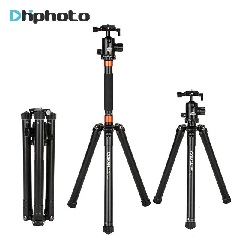 Coman Folding Portable Travel Tripod Aluminium Camera Tripod Monopod with UO Panoramic Head for SLR DSLR Camera Photographyer zomei z888 portable stable magnesium alloy digital camera tripod monopod ball head for digital slr dslr camera