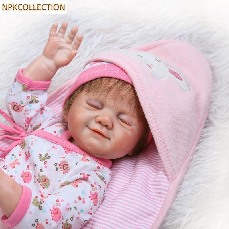 Npkcollection 45 см силиконовые возрождается Куклы BABY ALIVE Boneca 18 дюймов Спящая девушка Кукла Настоящее сенсорный новорожденных игрушка с одежда