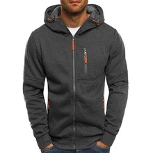 Litthing 2019 Gray/Black Hooded Sweatshirt Mens Fall Zip Up Hoodie Hoody Jacket Sweatshirt Casual Gym Hooded Coats Tops Outwear zip up two tone hooded track jacket