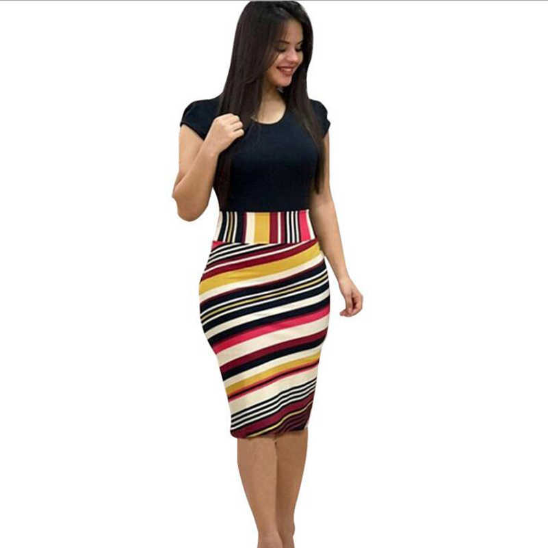 New 2019 Summer Dress Printed Office Midi Pencil Dress Large Women Dress Bodycon Bandage Dress Women Clothing NS9018