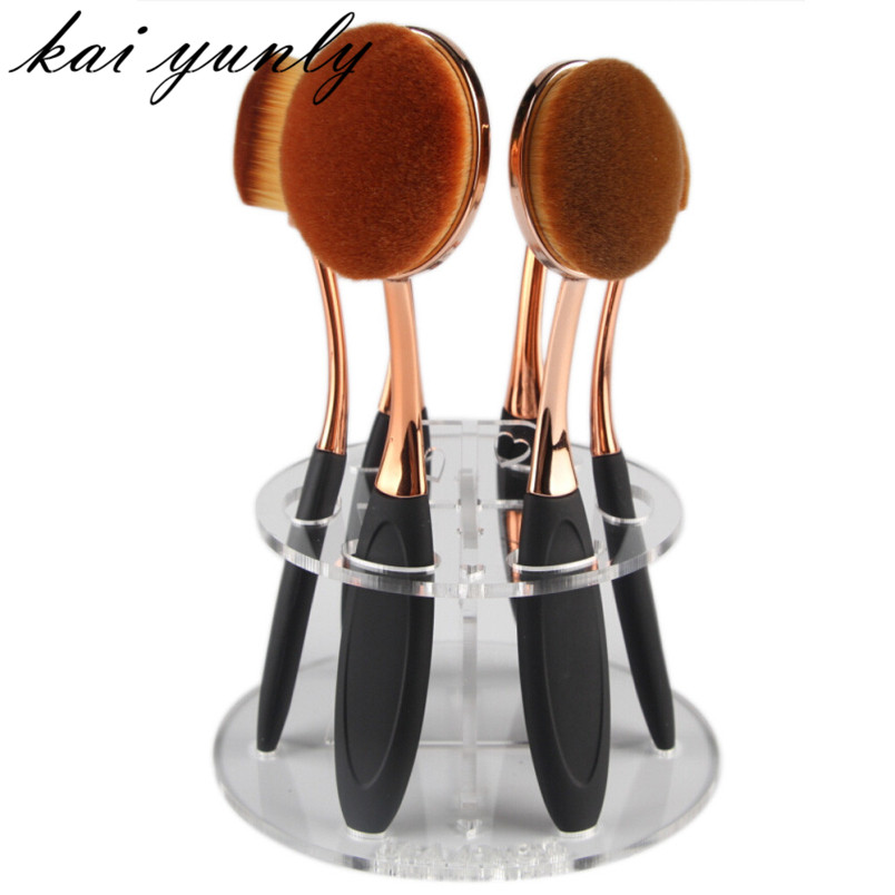 6 Hole Oval Makeup Toiletry Brush Holder Drying Rack Organizer Cosmetic Make Up Shelf Tool Clear Sep 8 easy install brush drying rack tree for different standard holes random color