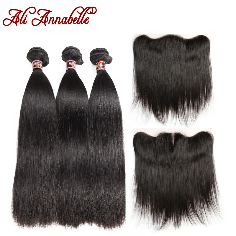 ALI ANNABELLE HAIR Malaysian Straight Hair 13x4 Lace Frontal Closure with Bundles Remy Hair 3 Bundles