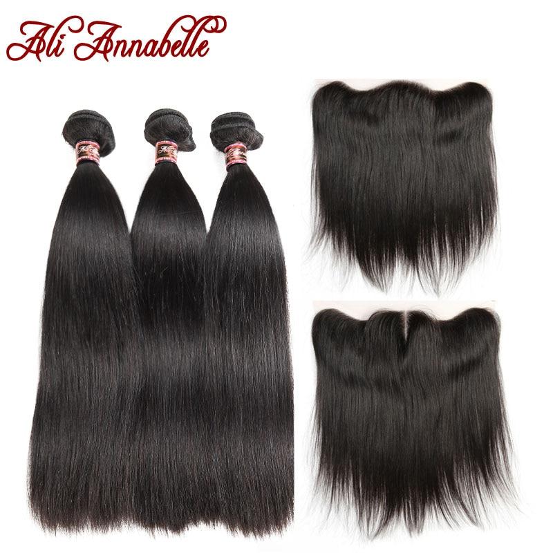ALI ANNABELLE HAIR Straight Hair 13x4 ปิดด้านหน้าลูกไม้ด้วยชุด Remy Hair 3 ชุดปิด-ใน 3/4 ช่อพร้อมส่วนปิด จาก การต่อผมและวิกผม บน AliExpress - 11.11_สิบเอ็ด สิบเอ็ดวันคนโสด 1