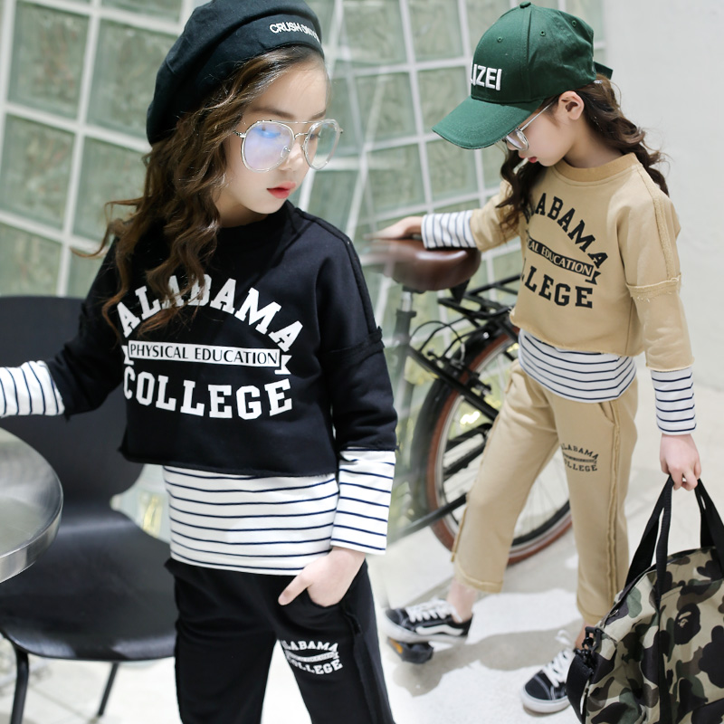 Girls Clothing Sets 2018 Spring New Childrens Long-sleeved Sports Suit Letter Printed T-shirts + Pants 8 9 10 11 12 13 14 Years