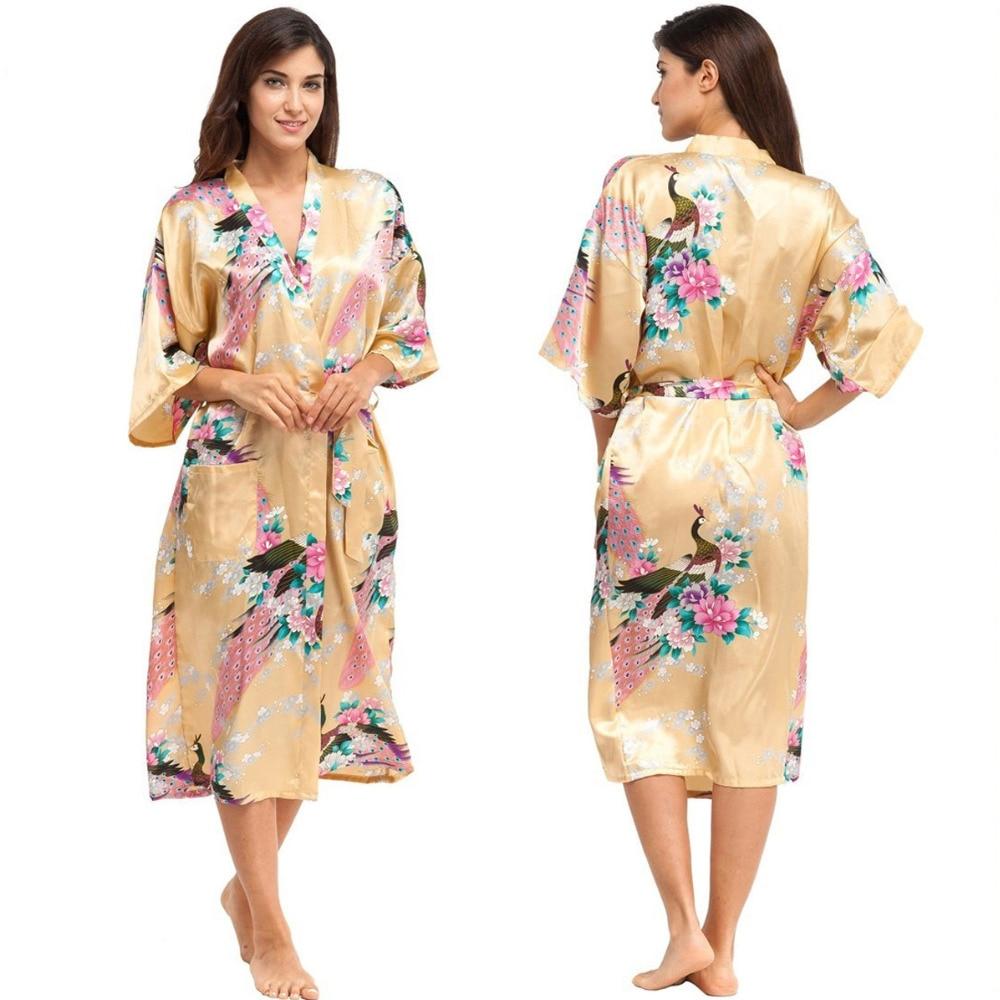 051e128556 Fashion Women s Peacock Silk Kimono Robe for Bridesmaids Wedding Party  Night Gowns Bride Robes for Bridal Party Pajamas 010417