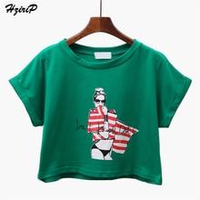 HziriP Girls Print Summer Green T Shirts Casual Cotton O-neck Short Sleeve Loose Tees Tops 2017 Ladies Harajuku Beach Tshirt