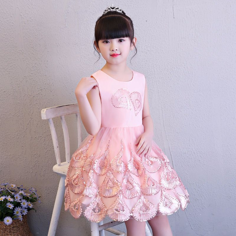 Cute Princess Pink Heart Dress Girls 4 to 8 Years Sleeveless Gown Dress Party Wedding Pageant O-Neck Knee Length Vestido Cloth women s stylish bowknot decorated sleeveless pink round neck dress