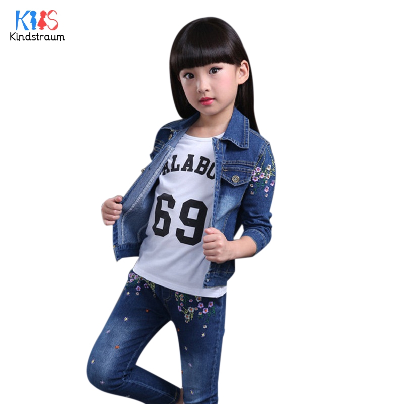 Kindstraum 2017 Girls Print Flowers Clothing Sets Children Coat + Pants + Shirts Denim Wear Spring & Autumn Suits for Kids,RC762 2014 spring autumn new fashion girls sports suits zipper coat trousers flowers print big girl clothes sets children sportswear