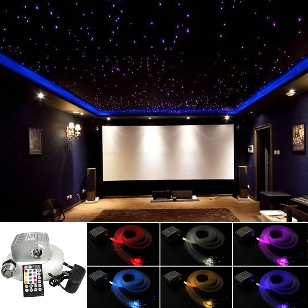 DMX 16W Fiber Optic Light RGBW Starry Sky Ceiling Kit 2M 200pcs 0.75mm Cable