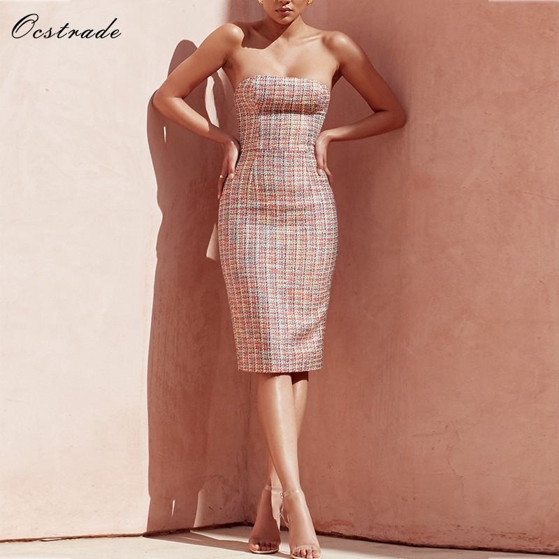 Ocstrade Summer Bodycon Club Dress 2018 Women Fashion Multi Colour Tweed Strapless Sexy Party Bodycon Dress silvercell women sexy off shoulder club dress fashion knitted elastic sweater slim bodycon dress vestidos