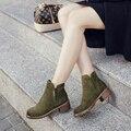 Botas de Piel de Invierno de las mujeres 2016 Zapatos de Las Señoras Martin Europea Sólida botas de Gamuza de Algodón Caliente Botines Zapatos de Las Mujeres 3-5 cm de Fondo suela