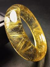 Top Quality Natural Gold Rutilated Quartz Titanium Bangle Woman Wealthy Stone Crystal Inner Diameter 53mm AAAAA