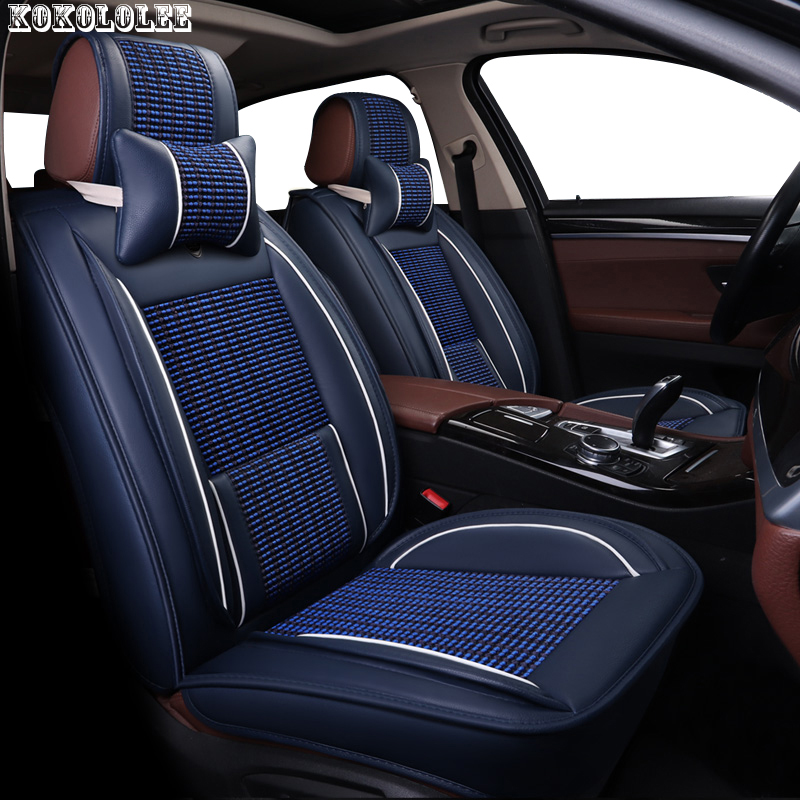 KOKOLOLEE ice silk+pu leather car seat cover for KIA Rio Cerato Sorento Forte K2 K3 K5 car seats protector car cushion Auto 2pcs car trunk lid lifting device spring for corolla mistra teana for kia k2 k3 k5 for cruze for accord city cerato for sonata