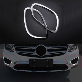 2x Chrome ABS Front Fog Light Frame Cover Trim For Mercedes-Benz GLC Class X205 2016-2017