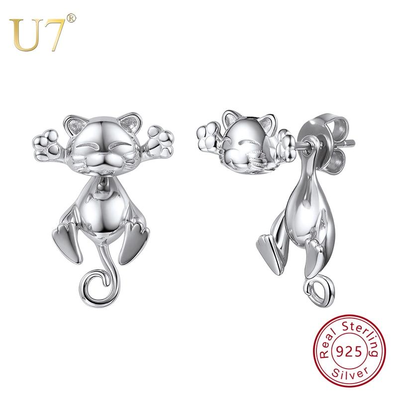 U7 925 Sterling Silver Stud Earrings for Women 3D Cute Cat Korean Style Earring Kitten Animals Jewelry Gift 2018 New creative 3d animal earrings cartoon cat kitten lovely ear stud earrings jewelry