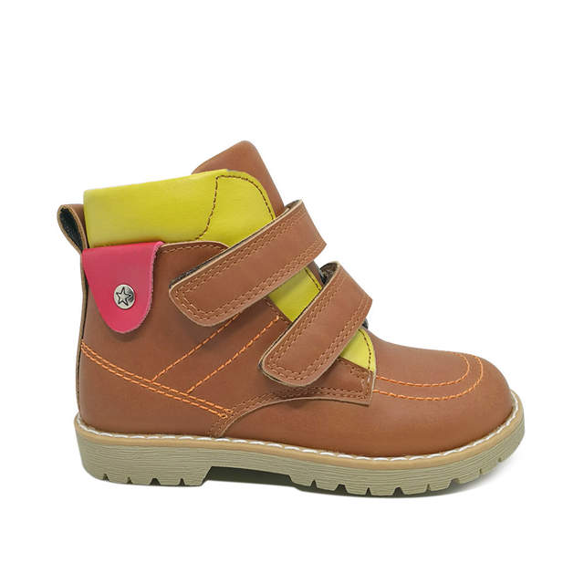 Placeholder Fashionable Children Orthopedic Footwear Handmade Boys Cow Nubuck Leather Brown Ankle Boots Spring Autumn Shoes