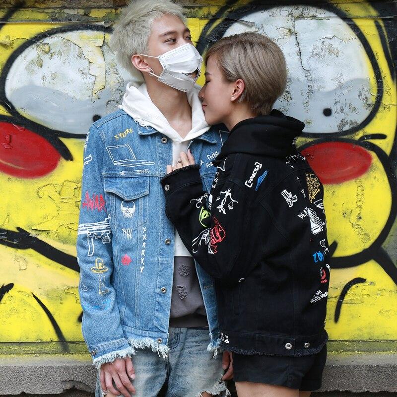 e69b7fedf3 2017 Designer Oversize Boyfriend Style Denim Graffiti Jackets Men Women  High Quality Tassel Hip Hop Street Fashion Homme Coat