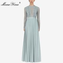 MoaaYina 2019 Runway New Arrive Pleated Long Dress Sleeve Light Blue Elegant Women Fashion Designer Party Maxi Dresses