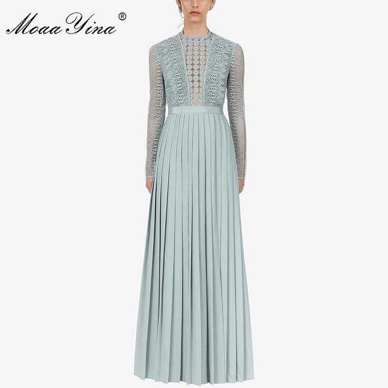 MoaaYina 2019 piste nouvelle arrivée plissée longue robe à manches longues bleu clair élégant femmes styliste fête Maxi robes