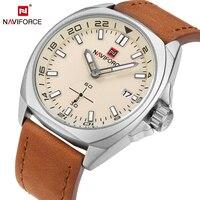 NAVIFORCE Top Luxury Brand 2017 New Arrival Mens Quartz Watch Unique Watches Hands Design Leather Strap