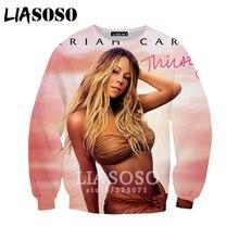 LIASOSO 2019 Autumn New Men Women 3D Print Singer Mariah Carey Sweatshirt  Long sleeve Top Fashion b3585330da70