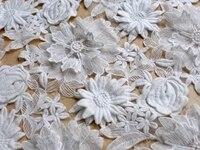 ラ· bellezaオフホワイト3d花コットトンオーガンジーレース生地に刺繍ウェディング/ショー/ステージ/eveingドレスレース生地