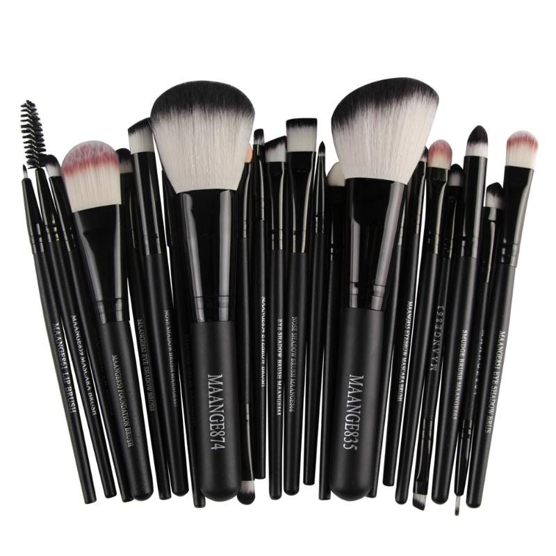 22pcs New Style Cosmetic Makeup Brushes Set Blush Eye Shadow Powder Foundation Eyebrow Lip Cosmetic Brushes Ladies Beauty Tools 10 pcs crystal professional makeup brushes set beauty power blush flame angle shadow comestic makeup tools