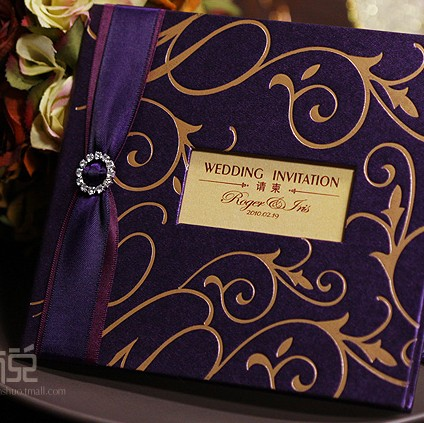 Dhl free shipping 50pcslot elegant purple wedding invitation dhl free shipping 50pcslot elegant purple wedding invitation card with shiny stopboris Gallery