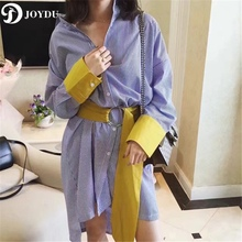 JOYDU 2017 Fashion Shirt Dress Striped Blue Midi Dresses Women Batwing Sleeve Loose Wide Sashes Color Block Vestido Dress female