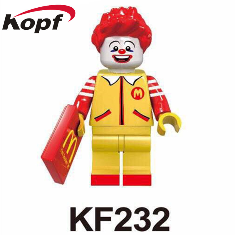 Single Sale Super Heroes Ronald McDonald Kentucky Colonel Harland Sanders Building Blocks Best Education Toys for children KF232