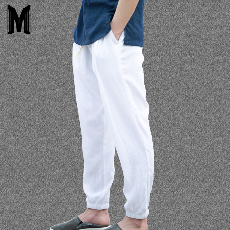 Men's Summer Casual Harem Pants Natural Cotton Linen Trousers White Elastic Waist Harem Ankle-Length Pants Y1694