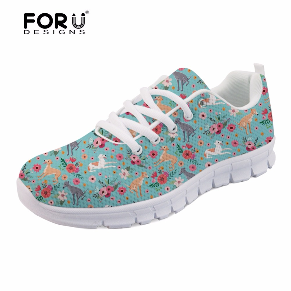 FORUDESIGNS Cute Women Flats Shoes Animal Greyhound Flower 3D Printed Casual Womens Sneakers Lightweight Female Zapatos Mujer