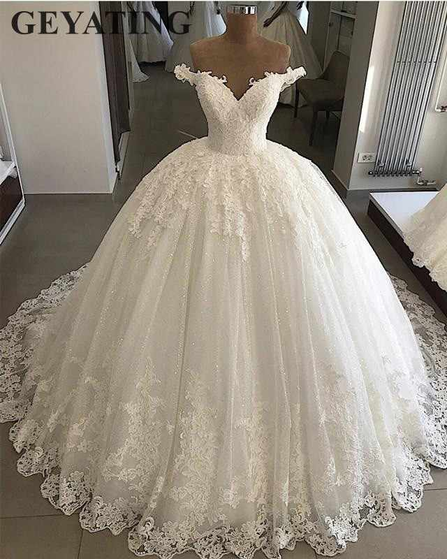 2020 Bling Tulle Ball Gown Wedding Dress Plus Size Lace Appliques Dubai Elegant Off The Shoulder Princess Bridal Gowns Lace Up Wedding Dresses Aliexpress