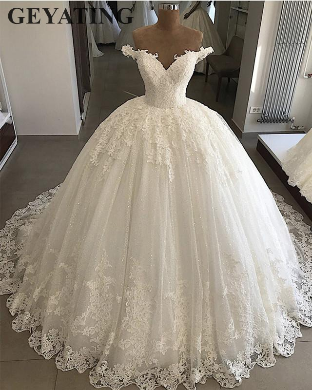 2019 Ball Gown Wedding Dresses: 2019 Bling Tulle Ball Gown Wedding Dress Plus Size Lace