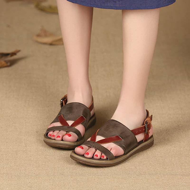 Été De Sauvage Nouveau Femelle Mou Personnalité Plat En Rétro Femmes Casual Sandales 2018 Chaussures 1 Fond 2 Cuir Pantoufles XSfwxq