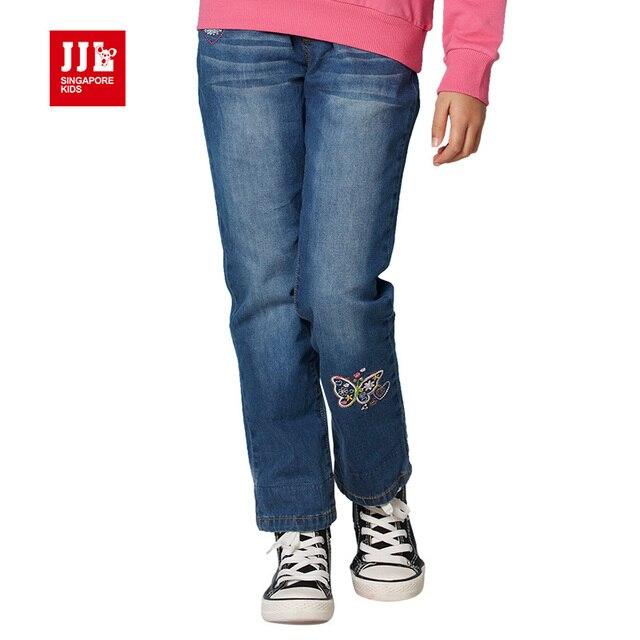 2016 новый бабочка мультфильм шаблон дети джинсы модные девушки джинсы хорошее качество дети брюки причинно девушка жан детская одежда