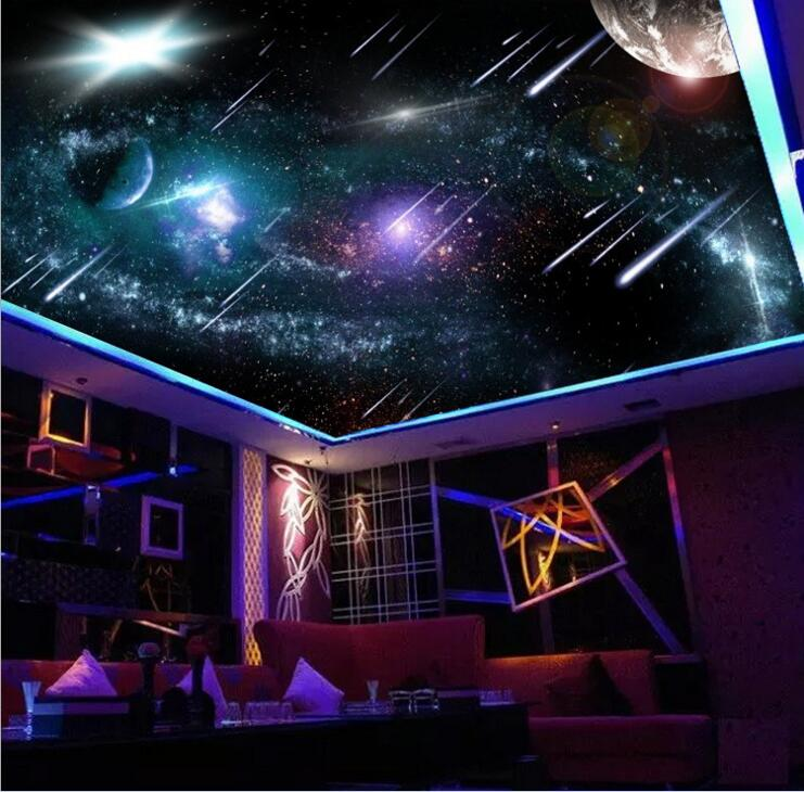 3d customized wallpaper Home Decoration 3d ceiling murals wallpaper Sky Star Mural ceiling wallpaper 3d ceiling For Kids Room 3d wallpaper custom mural non woven wall sticker 3d flowers and blue sky and white cloud ceiling murals wallpaper for walls 3d