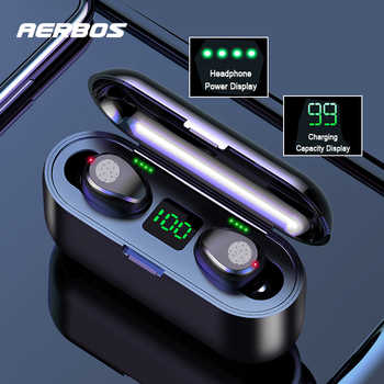 AERBOS Mini Twins Wireless Earphones Bluetooth 5.0 Stereo Headset Sport Headphone In-Ear Earbuds With Charging for Smartphone - DISCOUNT ITEM  40% OFF All Category