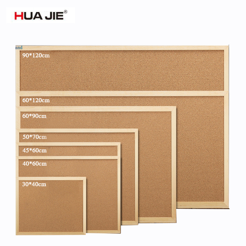 HUA JIE Eco Cork Notice Board Create Your Very own Bulletin 45*60cm Pin Boards with Wood Frame for Photo Drawing Message Memo
