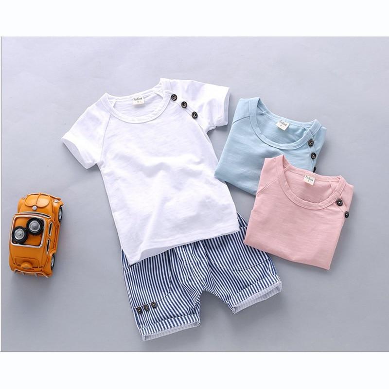Children's spring autumn summer cotton Boys tops tees Short sleeve Button t shirt striped pant 2pc/set ,kids Clothes 0 1,2,3Year стоимость