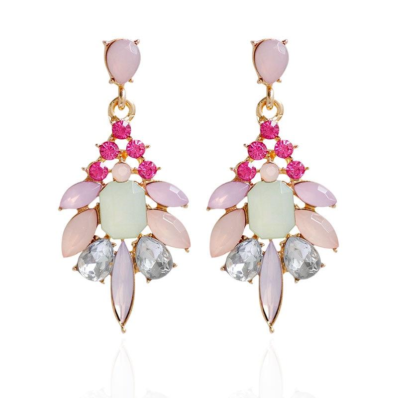 F & U Farklı Renkler ile Reçine Kristal Dangle Küpe Altın Renk - Kostüm mücevherat - Fotoğraf 5