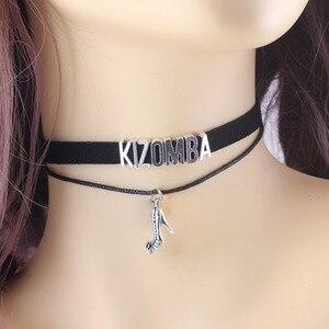 Gothic Dance KIZOMBA BACHATA SALSA ZOUK dancer Choker Necklace shoes Charm Pendant Velvet handmade Collar Jewelry for women(China)