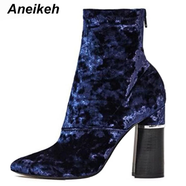 Aneikeh Blue Velvet Short Booties Women High Heels Pointed Toe Back Zipper  Ankle Boots Chunky Heel 01d4044c1e79