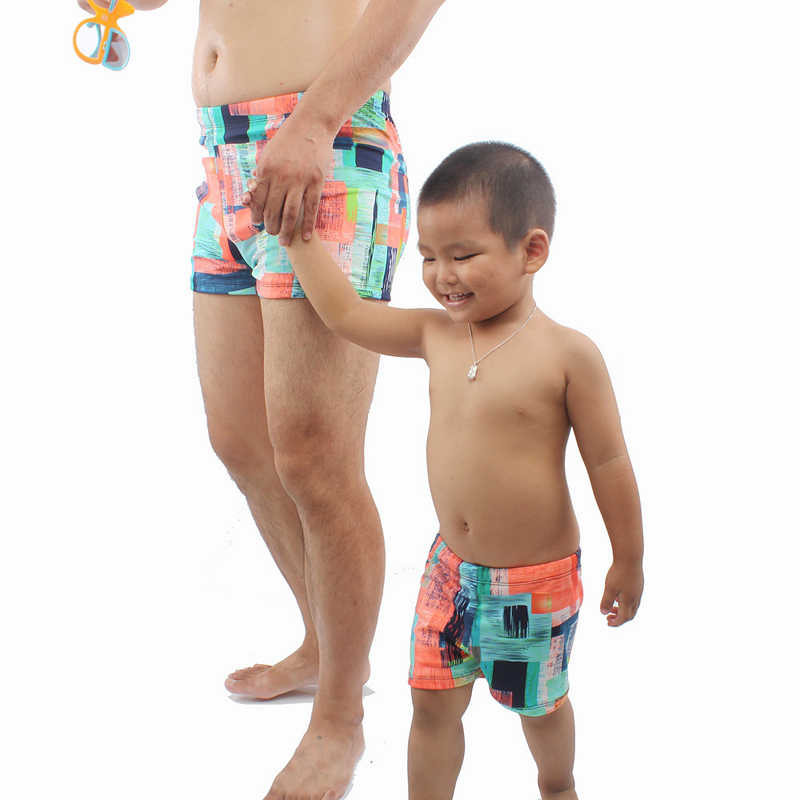 6eb3c2c06a ... Father Son Family Swimming Trunks Kids Boy Men Printed Swimwear Shorts  2018 New Parent-child