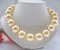 Wholesale price 16new ^^^^Beautiful 18 20mm golden perfect round south sea shell pearl necklace GP clas