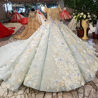 LS23165 luxury ball gown evening dress short sleeve spaghetti strap 3d flowers shiny evening gown with train 100% real as photos