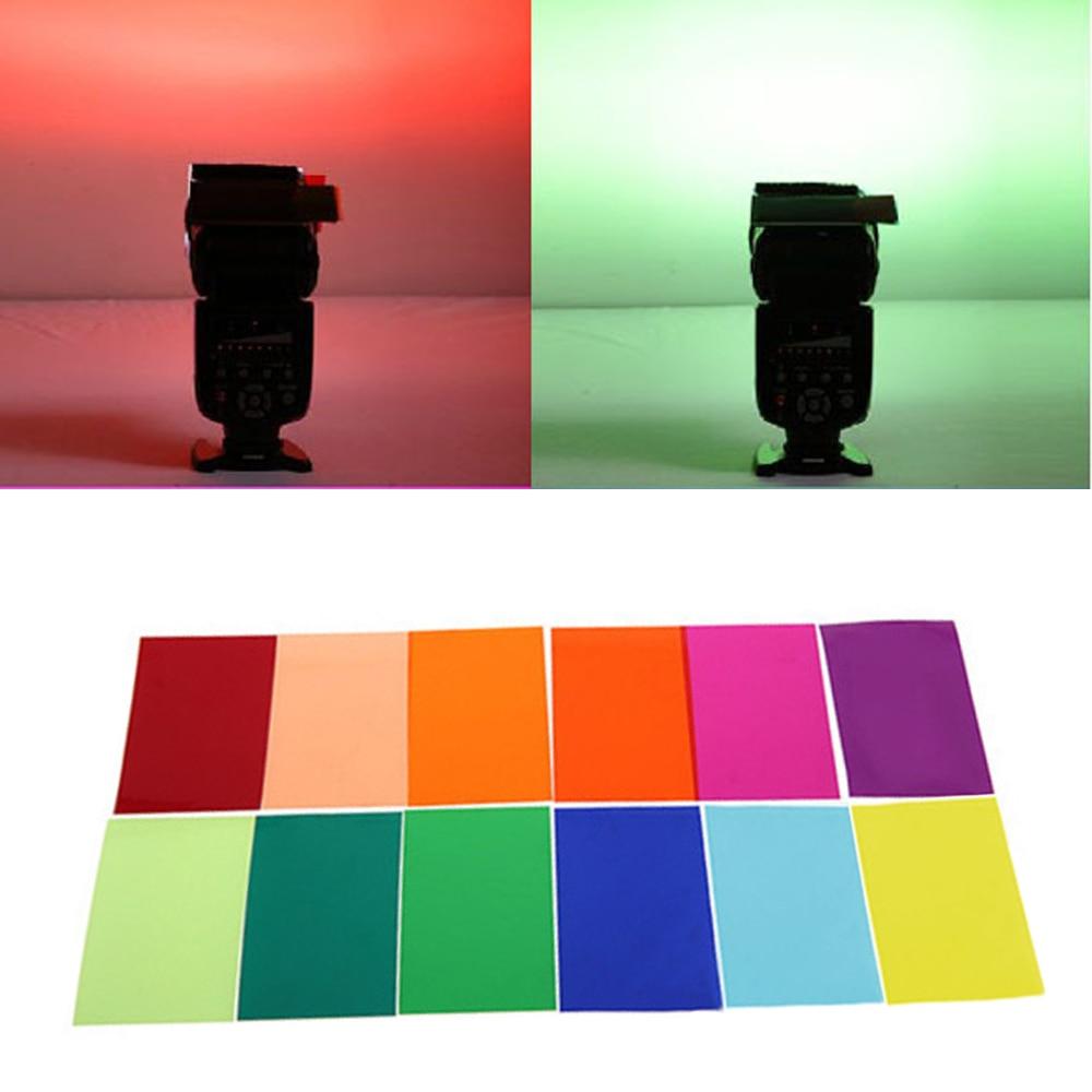 Gosear 12 PCS Filtro de Cor Gel Filtro de Luz Folha de Película Transparente titular 12 Cores para Estúdio Set-top Box Lanterna 1.8x3 polegada