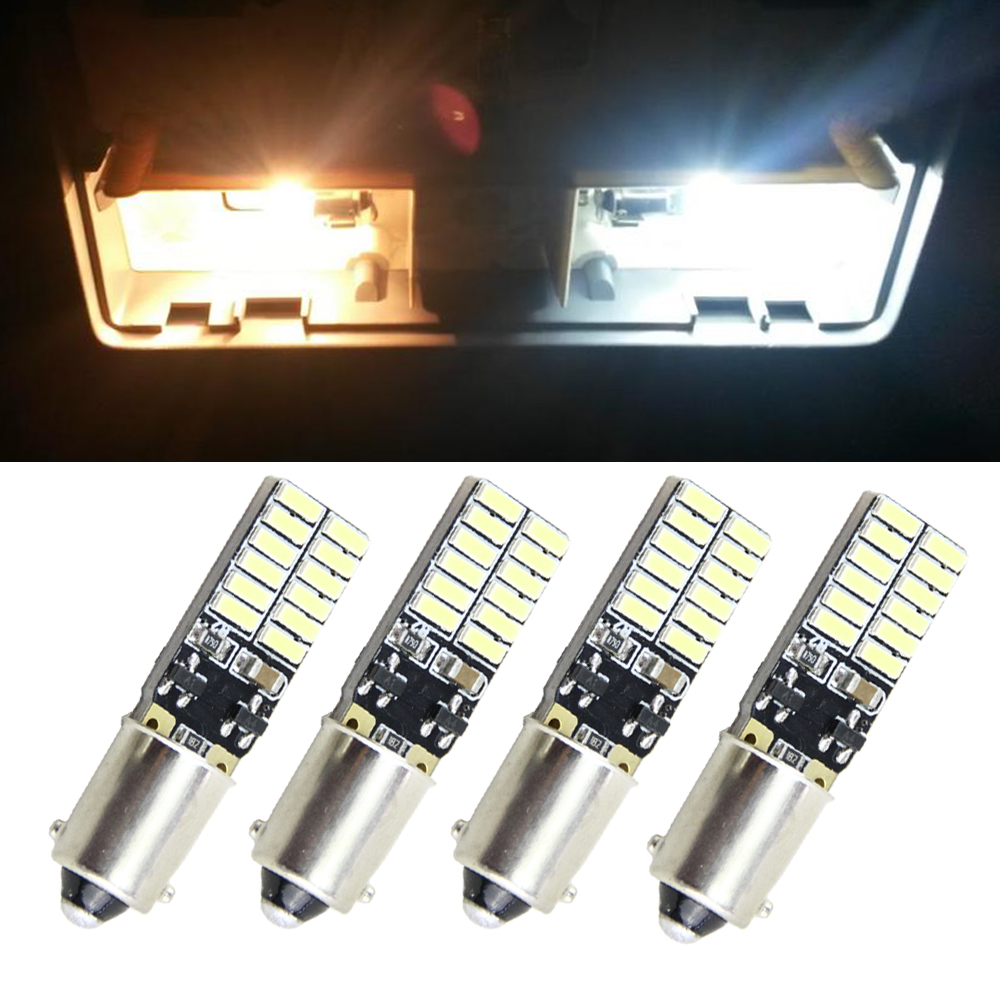 4pcs Car Bulb CANBUS Error Free BA9S T4W H6W LED White 4014 24SMD 4.8W LED Automotive Light Lamp 12V Parking 57 233 W6W T11